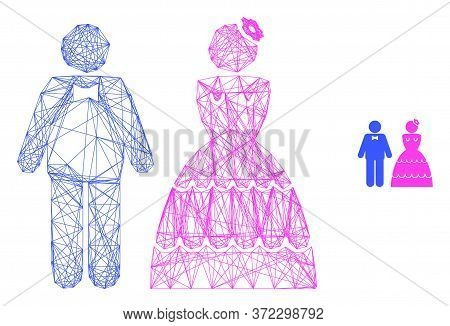 Web Carcass Wedding Pair Vector Icon. Flat 2d Carcass Created From Wedding Pair Pictogram. Abstract