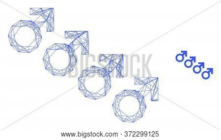 Web Net Male Cohort Symbol Vector Icon. Flat 2d Carcass Created From Male Cohort Symbol Pictogram. A