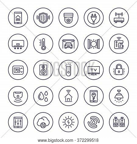 Smart House And Home Automation System Line Icons Set, Eps 10 File, Easy To Edit