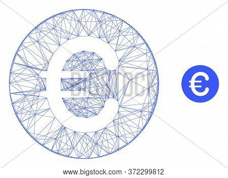 Web Carcass Rounded Euro Vector Icon. Flat 2d Model Created From Rounded Euro Pictogram. Abstract Ca
