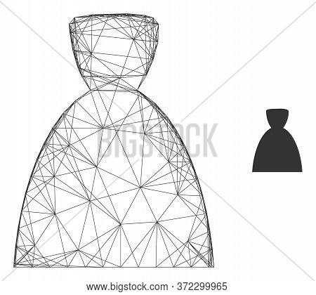 Web Mesh Female Dress Vector Icon. Flat 2d Carcass Created From Female Dress Pictogram. Abstract Fra