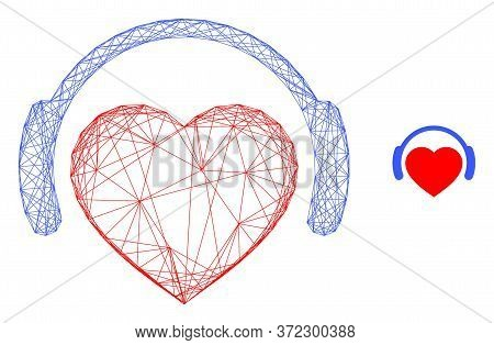 Web Network Romantic Heart Dj Vector Icon. Flat 2d Carcass Created From Romantic Heart Dj Pictogram.