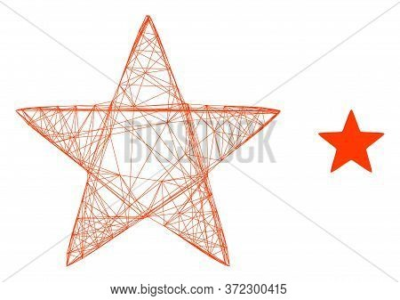 Web Mesh Red Star Vector Icon. Flat 2d Carcass Created From Red Star Pictogram. Abstract Carcass Mes