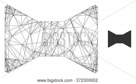 Web Net Tie Bow Vector Icon. Flat 2d Carcass Created From Tie Bow Pictogram. Abstract Frame Mesh Pol