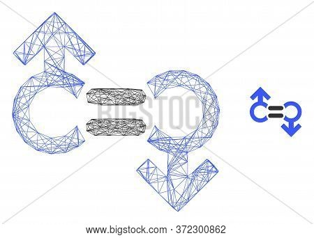 Web Carcass Gay Relation Symbol Vector Icon. Flat 2d Carcass Created From Gay Relation Symbol Pictog
