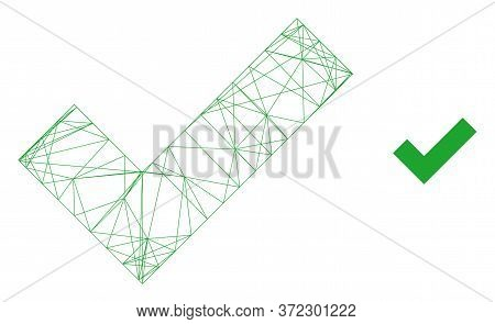 Web Net Apply Tick Vector Icon. Flat 2d Model Created From Apply Tick Pictogram. Abstract Frame Mesh