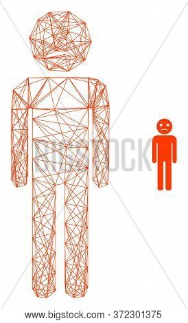 Web Net Sad Person Vector Icon. Flat 2d Carcass Created From Sad Person Pictogram. Abstract Carcass