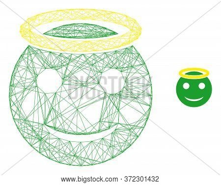 Web Carcass Holy Smiley Vector Icon. Flat 2d Carcass Created From Holy Smiley Pictogram. Abstract Ca