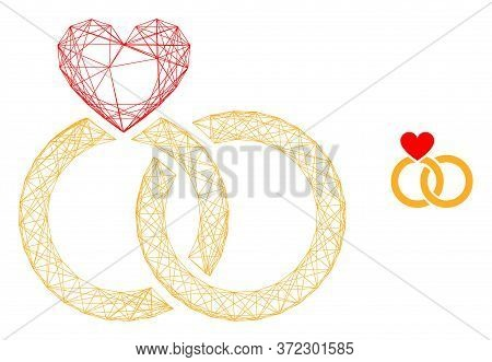 Web Mesh Wedding Rings Vector Icon. Flat 2d Model Created From Wedding Rings Pictogram. Abstract Fra