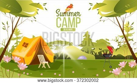 Summer Camping Vector Background With Tent, Chair, Brazier, Trees And Flowers. Picnic Stock Concept
