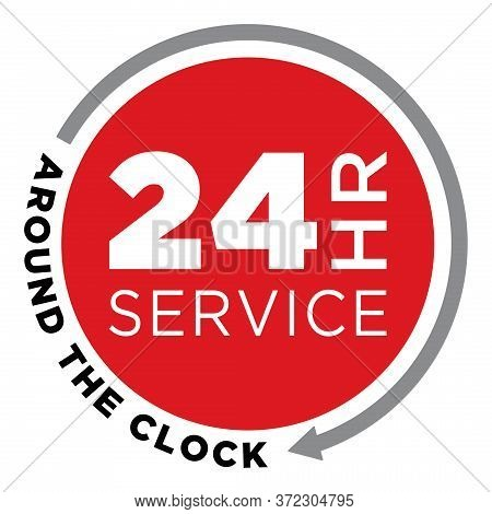 24 Hour Service Icon | Around The Clock Support Symbol | All Day Service Response | Maintenance & Re