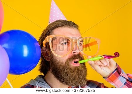 Celebrating Concept. Happy Birthday. Party Time. Holidays And Celebration, Party. Man With Balloons.