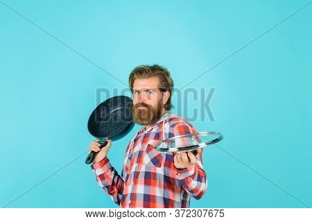 Man With Fry Pan. Happy Chef With Frypan. Fry-pan. Cooking. Kitchenware. Cooking Utensils. Cooking V