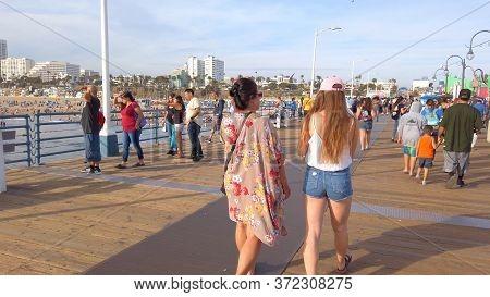 Walk Over Santa Monica Pier - Los Angeles, United States Of America - April 1, 2019