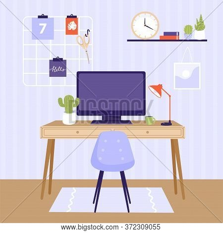Comfortable Workplace Design Illustration. Work At Home Or Remote Work Concept. Computer, Table, Cha