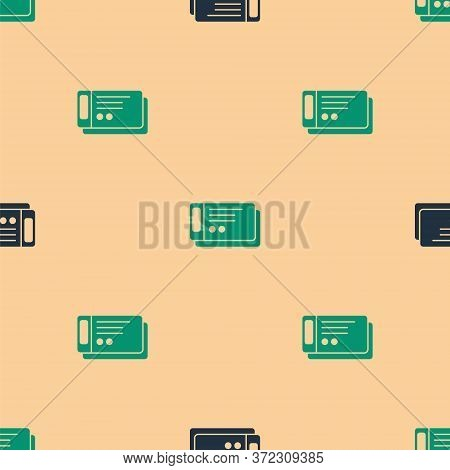 Green And Black Travel Ticket Icon Isolated Seamless Pattern On Beige Background. Train, Ship, Plane