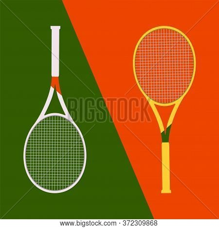 Vector Illustration With Two Rackets. White And Yellow Tennis Rackets On A Red And Green Diagonal Ba