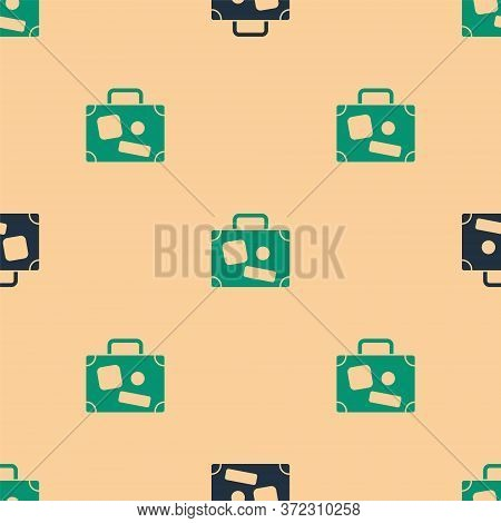 Green And Black Suitcase For Travel Icon Isolated Seamless Pattern On Beige Background. Traveling Ba