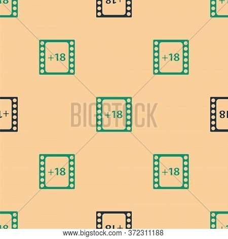 Green And Black Play Video With Inscription 18 Plus Content Icon Isolated Seamless Pattern On Beige