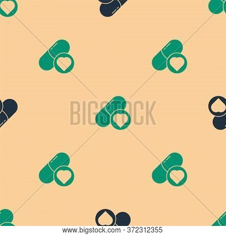 Green And Black Pills For Potency, Aphrodisiac Icon Isolated Seamless Pattern On Beige Background. S
