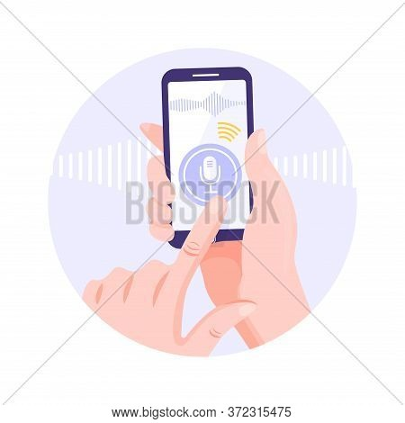 Voice Recognition Concept. Hand Holding Smart Phone With Voice Assistant Application. Intellectual T