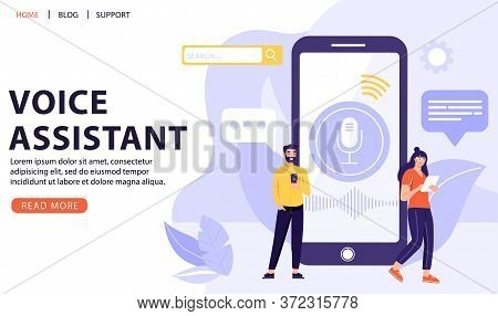 Voice Recognition Concept. People With Big Smart Phone Using Voice Assistant Application. Intellectu