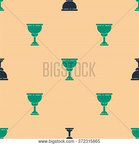 Green And Black Christian Chalice Icon Isolated Seamless Pattern On Beige Background. Christianity I