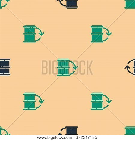 Green And Black Eco Fuel Barrel Icon Isolated Seamless Pattern On Beige Background. Eco Bio And Barr