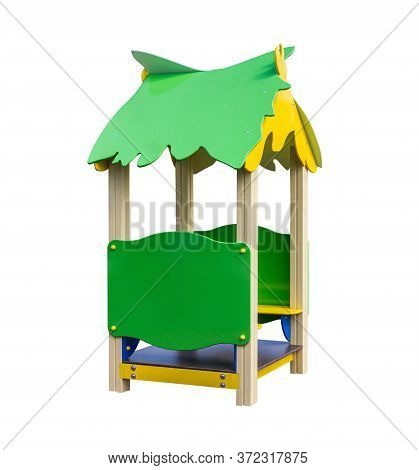 Wooden Playhouse With Benches For Playground. Shadowless Isolated On White Background