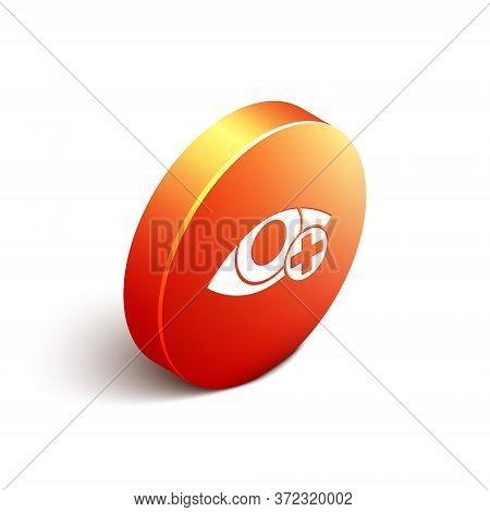 Isometric Red Eye Effect Icon Isolated On White Background. Eye Redness Sign. Inflammatory Disease O