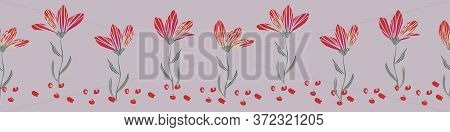 Row Of Flowers With Stems Border Print Vector Illustration. Botanical Embellishment For Cards, Invit