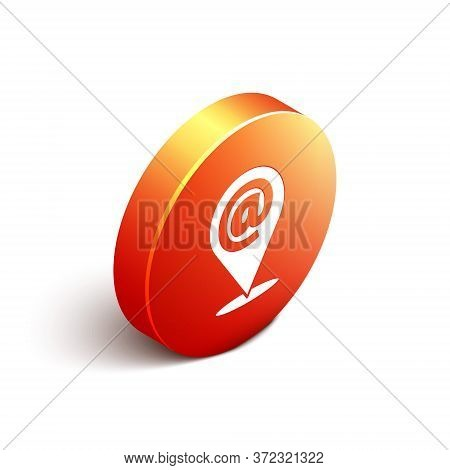 Isometric Location And Mail And E-mail Icon Isolated On White Background. Envelope Symbol E-mail. Em