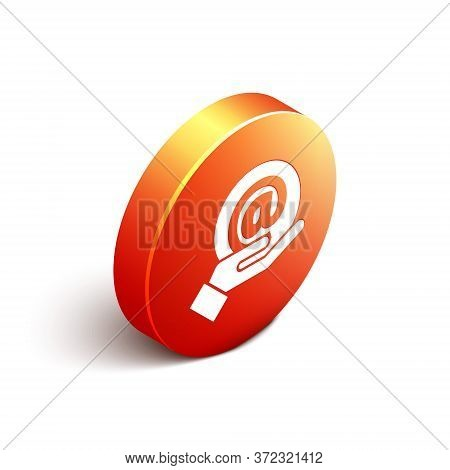 Isometric Mail And E-mail In Hand Icon Isolated On White Background. Envelope Symbol E-mail. Email M