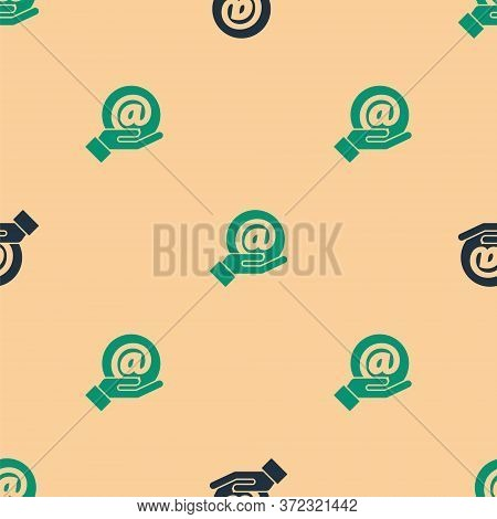 Green And Black Mail And E-mail In Hand Icon Isolated Seamless Pattern On Beige Background. Envelope