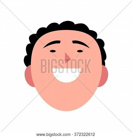 Vector Illustration Of Young Smiling Man. Portrait Of Handsome Cheerful Male Face. Avatar, Profile,