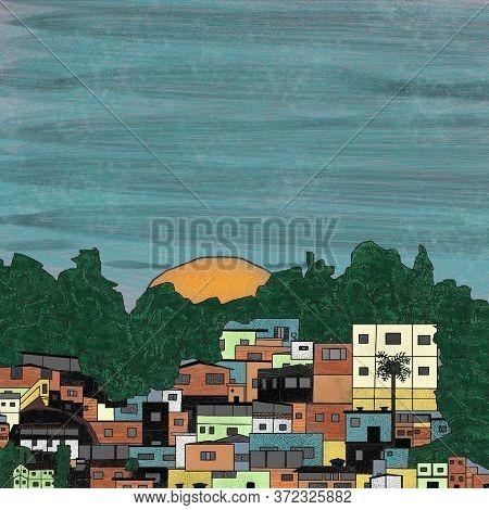 An Art-shaped Sunset In A Brazilian Favela