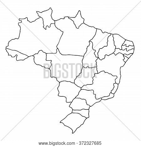 Black Sketch Of Brazil Map On A White Background. Drawing With Black Outlines