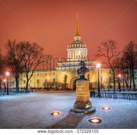 The Admiralty Building In St. Petersburg And The Monument To Russian Composer Glinka On A Winter Nig