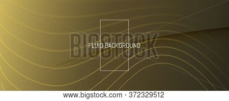 Abstract Vector Curve. Gold Dynamic Landing Page. 3d Flow Line. Digital Texture. Golden Abstract Vec