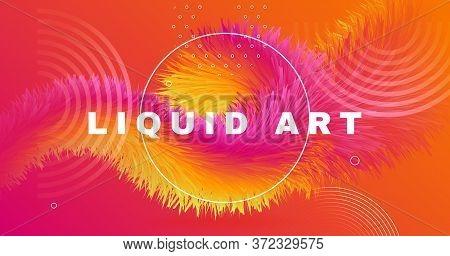 Fluid Liquid Art. Orange Wave Background. Graphic Pattern. Color Modern Banner. Geometric Movement.