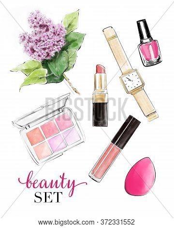 Hand Drawn Set With Lipstick, Eye Shadows, Lip Gloss, Nail Polish, Watch And Lilac. Beautiful Set Wi