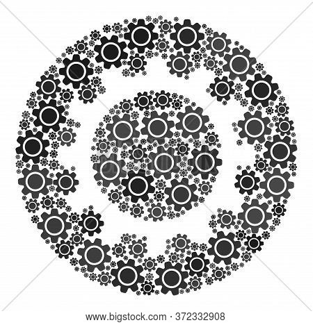 Gear Collage For Cog. Round Abstract Cog Collage Is Designed With Randomized Gear Wheels. Engineerin