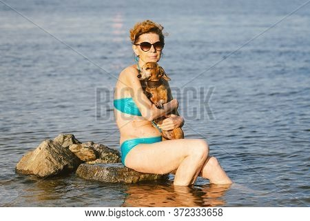 A Small Brown, Old Dog Of A Dachshund Breed Sits On The Hands Of A Mature Woman In A Pond. Theme To