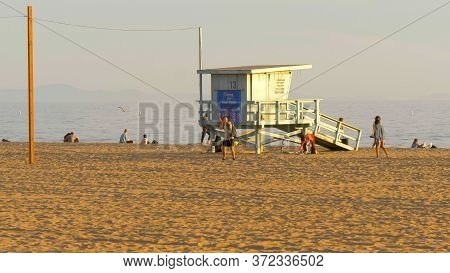 Lifeguard Tower At Santa Monica Beach - Los Angeles, United States Of America - March 29, 2019