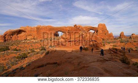 Walking Through Arches National Park In Utah- Utah, United States - March 20, 2019