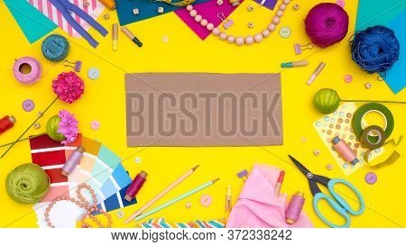 Diy. Multicolored Craft Supplies And Tool On Yellow Background. Womens Hobby - Sewing, Embroidery, F