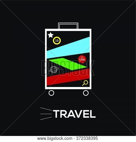Illustration Of A Suitcase With White Lines On A Black Background. Vector Illustration With Many Col