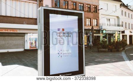 Haguenau France - April 1 2020: View On City Advertising Board Ooh Digital Display Of Information Fr