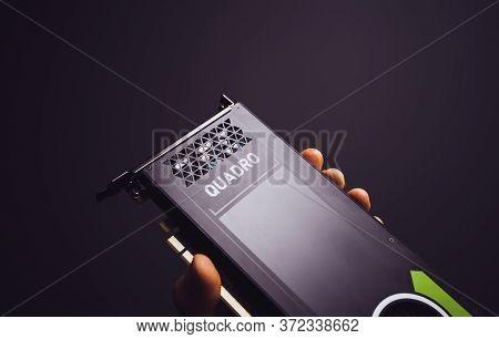 Paris, France - Sep 30, 2019: Pov Male Hand Showing Demonstrating New Professional Nvidia Quadro P40