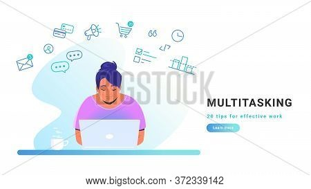 Multitasking And Working Online With Laptop. Flat Line Vector Illustration Of Cute Woman Sitting Alo